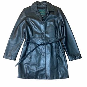 VINTAGE Danier 100% Leather Belted Trench Coat